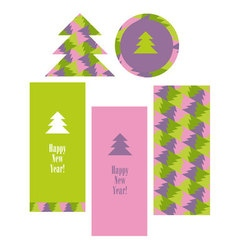 Christmas pattern with trees Xmas greeting set vector