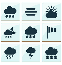 Climate icons set collection of wet lightning vector