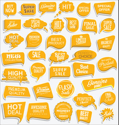 collection modern yellow sale stickers and vector image