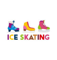 colorful ice skates winter vector image