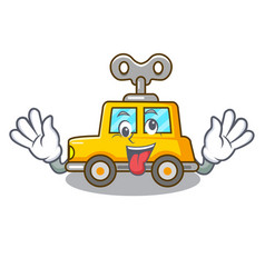 Crazy clockwork toy car isolated on mascot vector