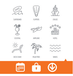 Cruise waves and cocktail icons hotel sign vector