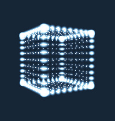 cube the cube consisting of points 3d glowing grid vector image