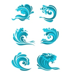 Curling sea and ocean blue waves vector image