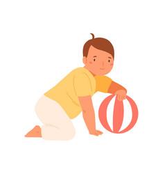 cute baby playing ball flat vector image