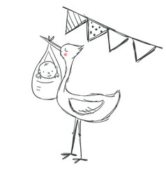 cute baby shower of stork and baby vector image