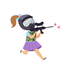 cute little girl playing paintball with gun vector image