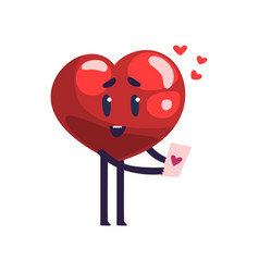 cute red heart character holding valentine card vector image