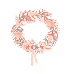 Decorative wreath marine themes from corals and vector