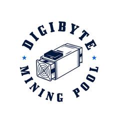 digibyte logo digital asset concept - mining pool vector image