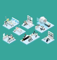 Doctor and patient isometric compositions vector