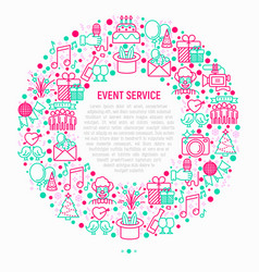 event services concept in circle vector image