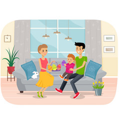family easter holiday with kids and adult vector image