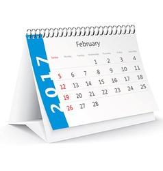 February 2017 desk calendar - vector