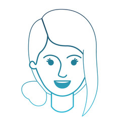 Female face with collected hair and fringe in vector