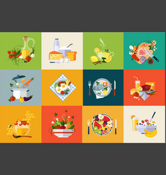 Flat set of dishes and beverages fresh vector