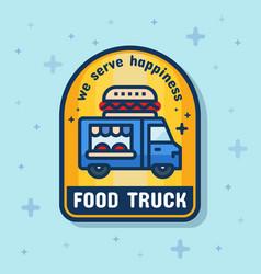 food truck service badge banner vector image