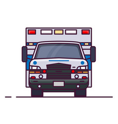 Front view of ambulance car vector