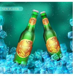 Frozen light beer bottles with ice cubes product vector