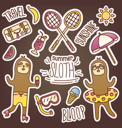 fun sticker pack with sloth in summer theme vector image