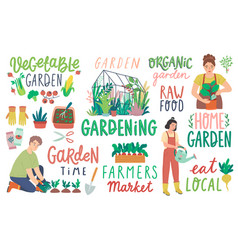 gardening letterings working people and other vector image
