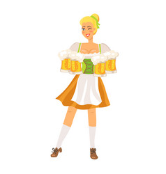 german waitress on white vector image