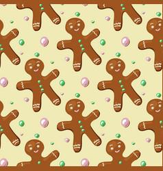 Gingerbread man pattern vector