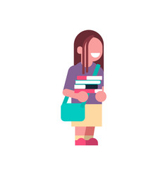 girl backpack books stack school children isolated vector image