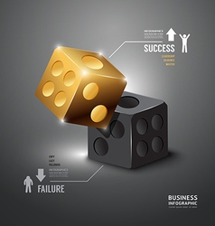 Gold Dice Infographic Template Business vector image