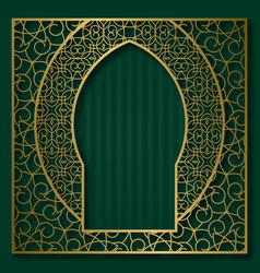 Golden ornamental frame in oriental arched window vector