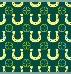 Good luck seamless pattern horseshoe clover vector