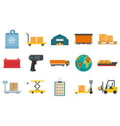 Goods export icons set flat style vector