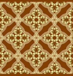 greek ornate gold 3d floral seamless pattern vector image