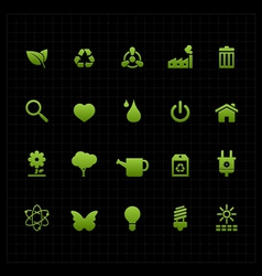 Green eco icon set icon black background vector