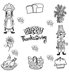 Hand draw Thanksgiving element in doodle vector