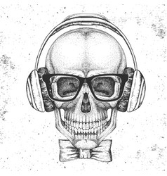 hand drawing hipster skull with headphones vector image