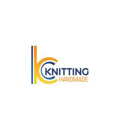 handmade knitting letter k icon vector image