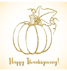 Happy Thanksgiving Day greeting card with pumpkin vector