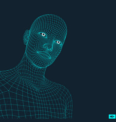 head of the person from a 3d grid vector image