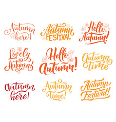hello autumn lettering for fall season holiday vector image