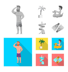isolated object of pool and swimming sign set of vector image