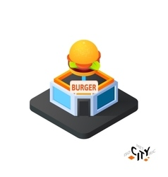 Isometric burger cafe icon building city vector image vector image