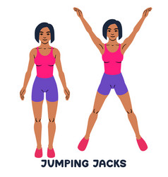 Jumping jack sport exersice silhouettes of woman vector
