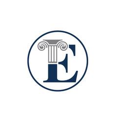 Letter e and law pillar logo design vector