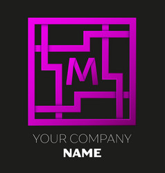 Letter m symbol in colorful square maze vector