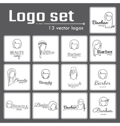 Logo set for beauty salon or barbershop vector image