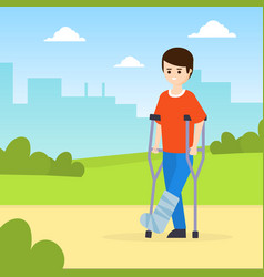 Man on crutches with broken leg walking in park vector