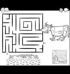 maze with cow for coloring vector image