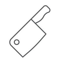 Meat cleaver knife thin line icon kitchen cooking vector