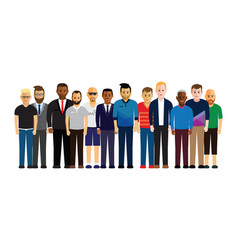 Men in a line vector